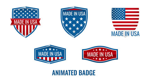 Made in America or USA United States labels Animation