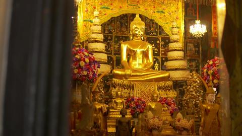 Golden Buddha Statue in the ubosot at Wat Phanan Choeng temple,Phra Nakhon Si Ay Footage