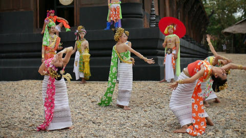 Thai traditional folk dance songkran festival performance show at Main Temple of Footage