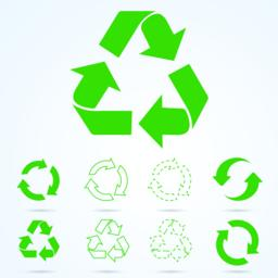 Green recycle sign isolated on white background - stock vector ベクター