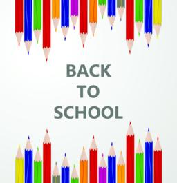 """Line up of color pencils with """"back to school"""" text. Education and learning conc ベクター"""