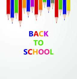 "Line up of color pencils with ""back to school"" text. Education and learning conc Vector"