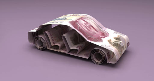Car Finance with Mexican Pesos Animation