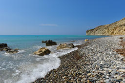 Summer vacation concept. Beach and turquoise sea water. Pissouri Foto