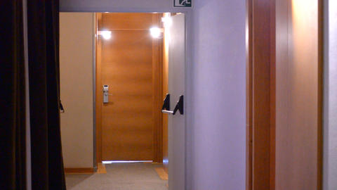 Creepy Hotel Door Hall Footage