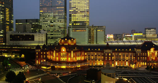 Early Evening View of Tokyo Station Marunouchi Side with surrounded Hi Rise Offi Footage