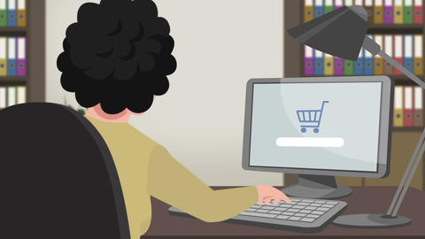 Cartoon Shopping / Girl Online Buying stock footage