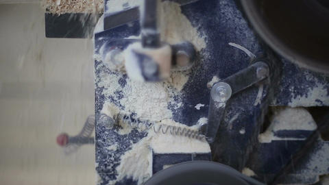 Operation of woodworking circular sawing machine Footage