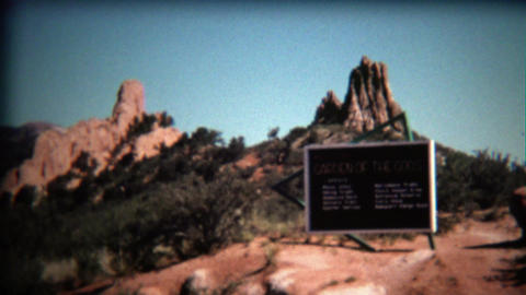 1972: Garden of the Gods park entrance sign on bright blue day Footage