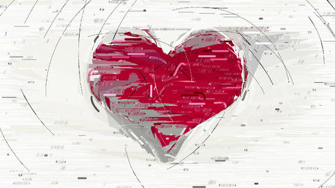 Abstract red heart decorative animation Animation