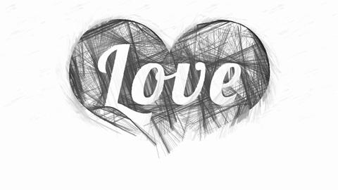 Word Love in abstract monochrome hatched heart Animation