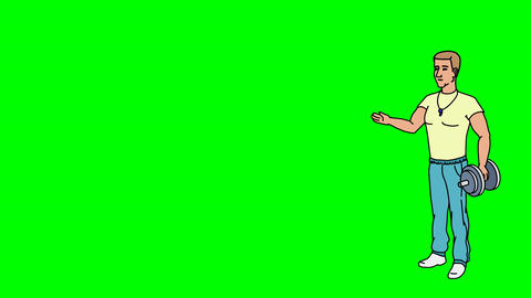 Animated Character Athlete or Coach stands in full growth…, Stock Animation