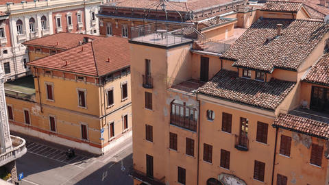 Tilt shot of Mantua rooftops, churches and terraces Footage