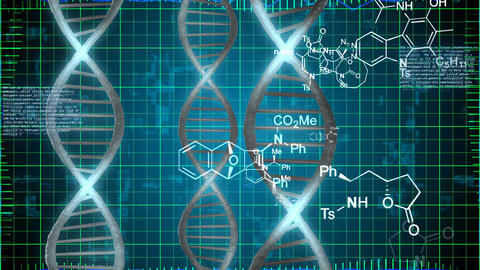 Abstract DNA Strands on a grid background Animation