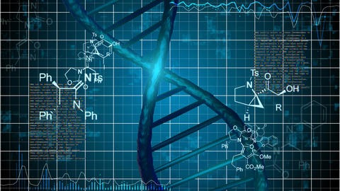 Abstract DNA Strand with science grid background Animation