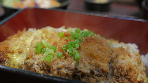 Japanese cuisine Katsudon Stock Video Footage