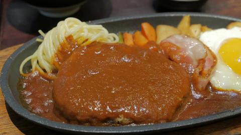 set of Hamburg Steak with fried egg, Japanese cuisine Footage