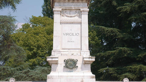 Tilt shot of Virgil statue, Mantua Footage