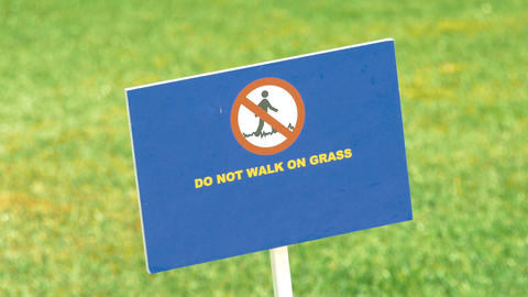 Video of do not walk on grass sign in 4K Footage