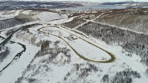 Race track view from the drone Live Action