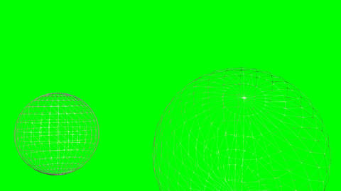 Particle destruction of two mesh structured spheres, sci-fi video animation on g Animation
