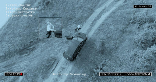 POV from the police helicopter camera. Chase Footage