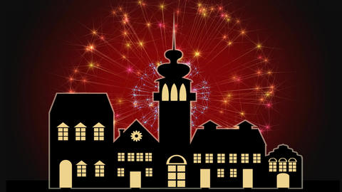Happy new year banner with old town silhouette and red firework on background, h Image