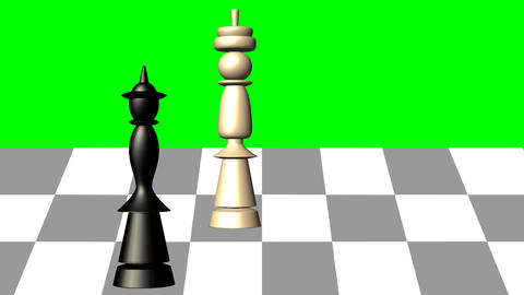 3d chess scene, black queen gives the mat to the white king, animation on green  Image