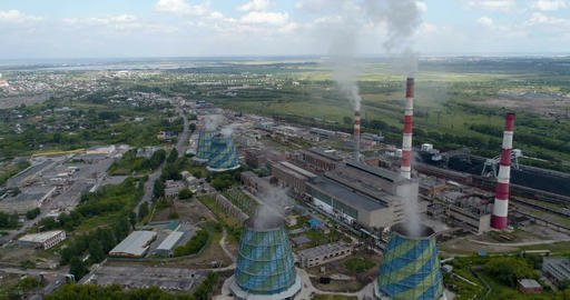 Coal-fired power plant pollutes the environment. Aerial Footage