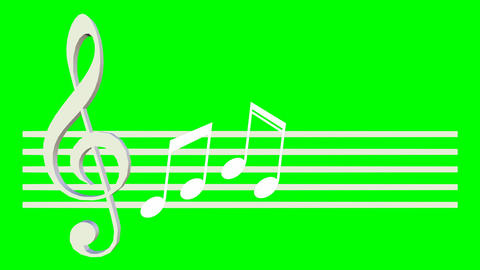 Music animation with treble clef swinging on the score sheet, the notes are show Animation