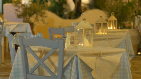 Romantic Outdoor Tables Stock Video Footage