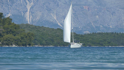 Yacht Sailing near Shores Footage