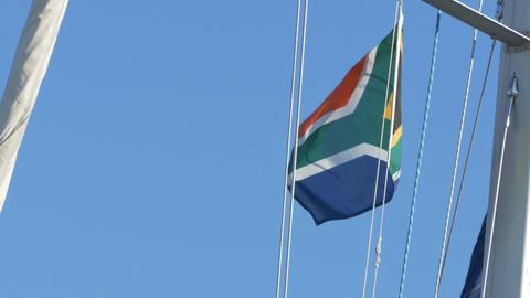 South Africa Flag on Mast Image