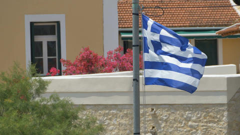 Greece Flag Waving Strongly 画像