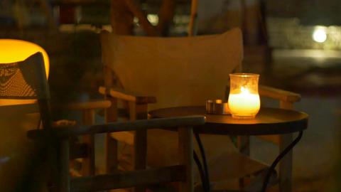 Nighttime Outdoor Restaurant Table Archivo