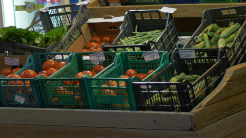 Vegetables Stands at Market Footage
