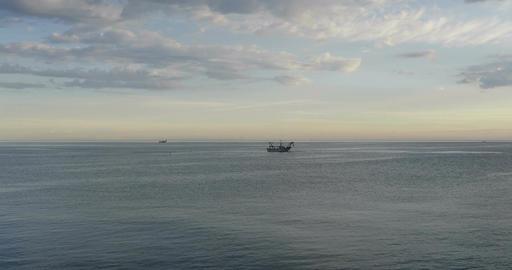 Fishing Boat Sea Sunrise Filmmaterial
