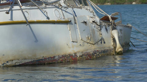 Yacht Hull Wreck on Waters Footage