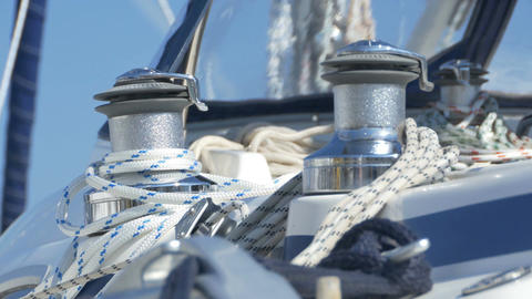 Yacht Winch And Ropes Footage