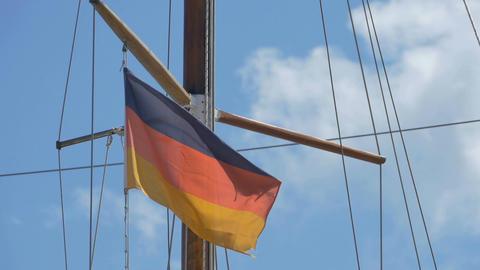 Germany Flag on Wooden Mast Image