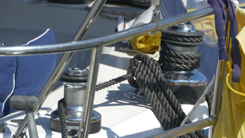 Sailboat Winch And Rope Footage