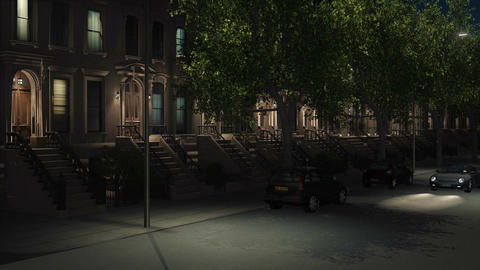 New York City night street with brownstones and cars Image