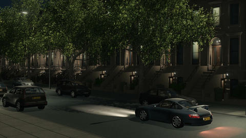 Brownstone building and cars at night loopable Animation