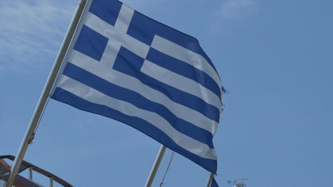 Greece Flag Waving Footage