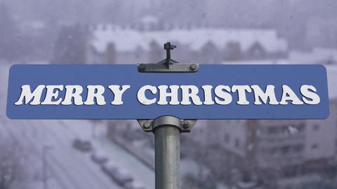 Merry Christmas road sign on cold blizzard snow winter time with 4k resolution Image