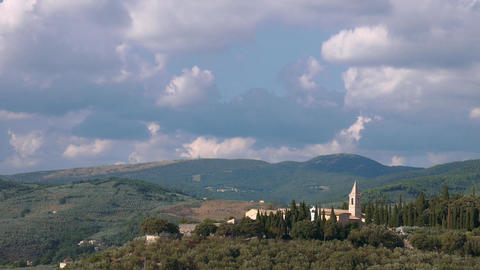 St. Martin convent on a hill near Trevi, Umbria, Italy Footage