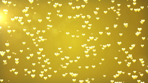 Valentine's day golden loopable abstract background. Hearts and glitter lights o Animation