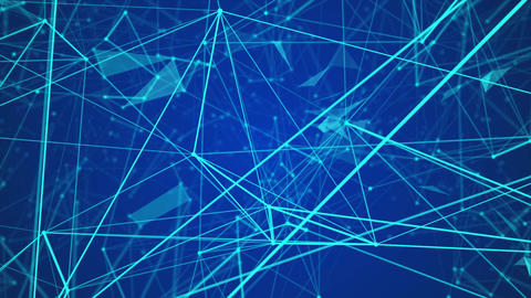 abstract blue geometrical background with moving lines and dots. looping cg anim Animation