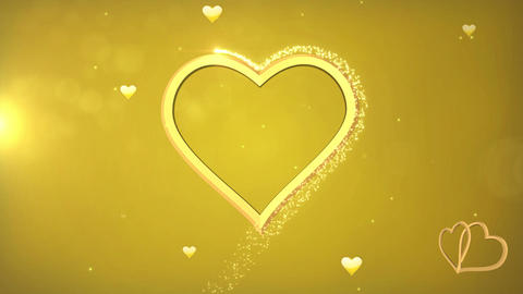 Beautiful Golden Heart made of Sparks in Looped animation. Valentines Day Animation