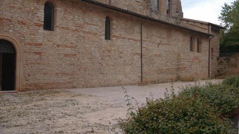 San Salvatore Basilica exterior, Umbria, Unesco World Heritage Footage